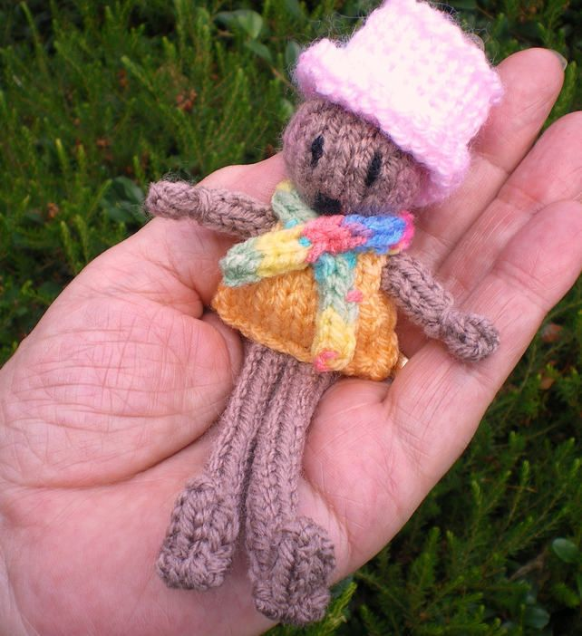 Dolly,Hand knitted Muffin 14cm tall,Hand held, Brown boy doll,Top hat,Hugs await £4.50
