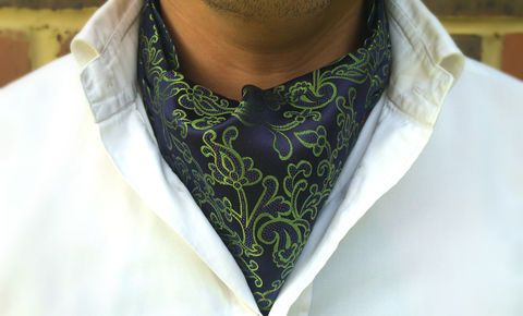 ARES Woven Silk Cravat #cravat #ascot #tie #daycravat #silkcravat #silk #cravats #ascots #madeinengland #wedding #groom #groomswear #weddingideas #idea #grooms #style #weddingstyle #outfit #inspiration #weddingguest #guest #usher #ushers #buybritish #accessories #dapper #gentleman #cravatclub #green #blue #botanical #botanicalcravat #floral #greencravat