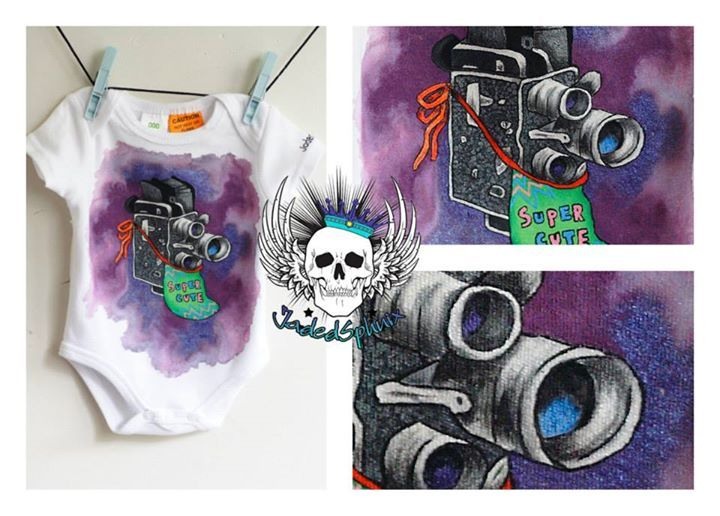 Super Cute/Super 8 baby onesie. So, so happy with how this turned out