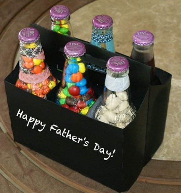 Simple and fun fathers day gifts: bottles with sweets | DIY is FUN