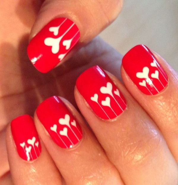 Red Nails with white dripped hearts, holiday nails, Valentines Day Nail Art