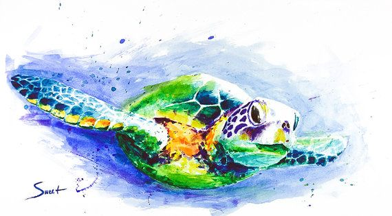 Watercolor sea turtle painting animal art sea life by SignedSweet, $12.00. amazing watercolor work