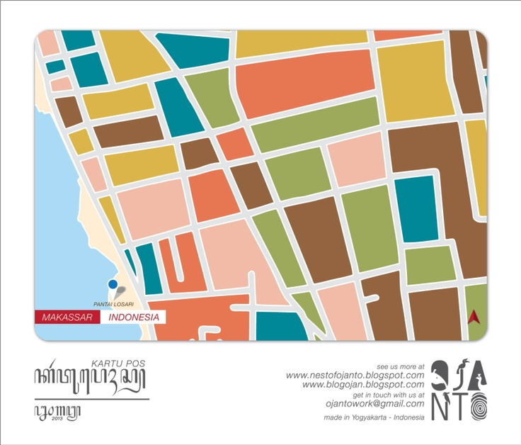 Indonesian City Maps Postcard Series (January 2013) | Makassar - Indonesia | special spot : Pantai Losari | Postcard Design by Ojan