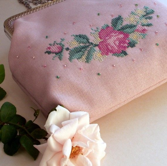 hand embroidered pink wedding purse with roses