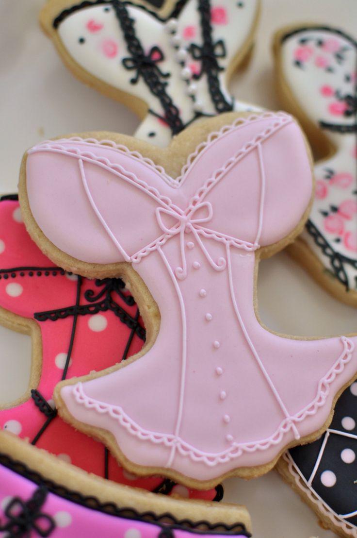 Corset Lingerie Bridal Shower Cookie Favors  12 by MarinoldCakes