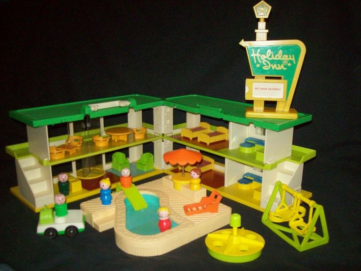 Vintage Fisher Price Little People Swimming Pool Playskool Holiday Inn LOADED!! #FisherPricePlayskool