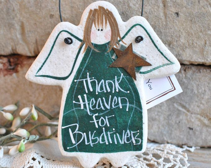 Busdriver Gift Idea / Busdriver Thank You / Back To School Hanging Salt Dough Xmas Ornament / Birthday Gift