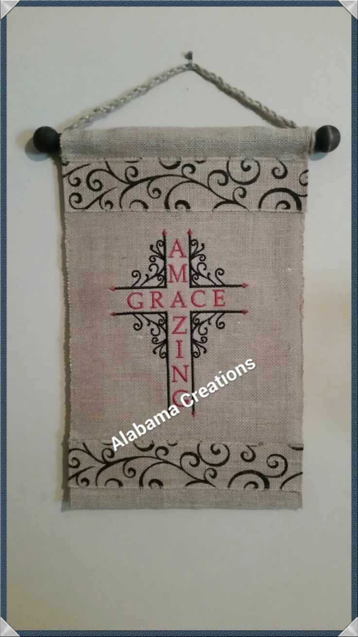 Burlap wall hanging - amazing grace - pinned by pin4etsy.com