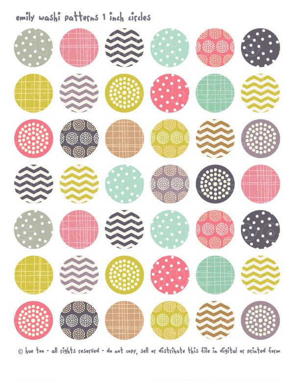 1 inch circles and squares, washi tape patterns collage sheets, pink mustard yellow aqua purple bottlecap images, chevron polka dots - 617