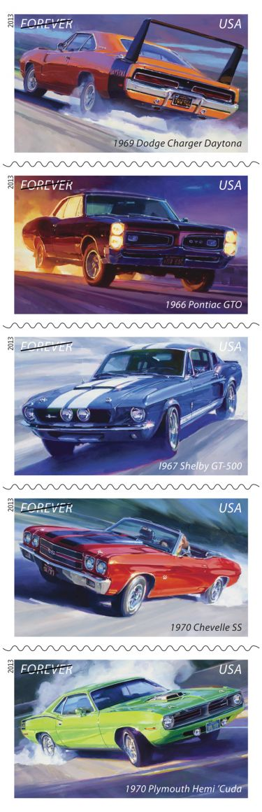 Muscle Cars, Forever | USPS Stamps 2013