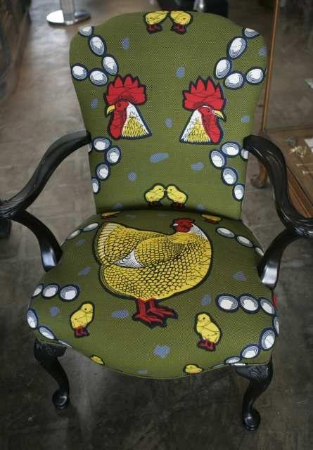 praisehouse:  Whimsical chicken pattern in African wax print