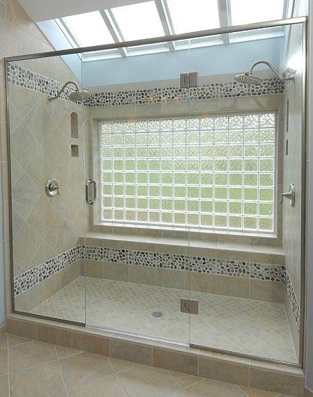 Bathtub to shower conversion - glass block window with two shower heads.