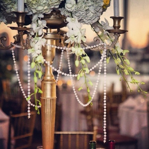 Candelabra centerpiece with pearl accent