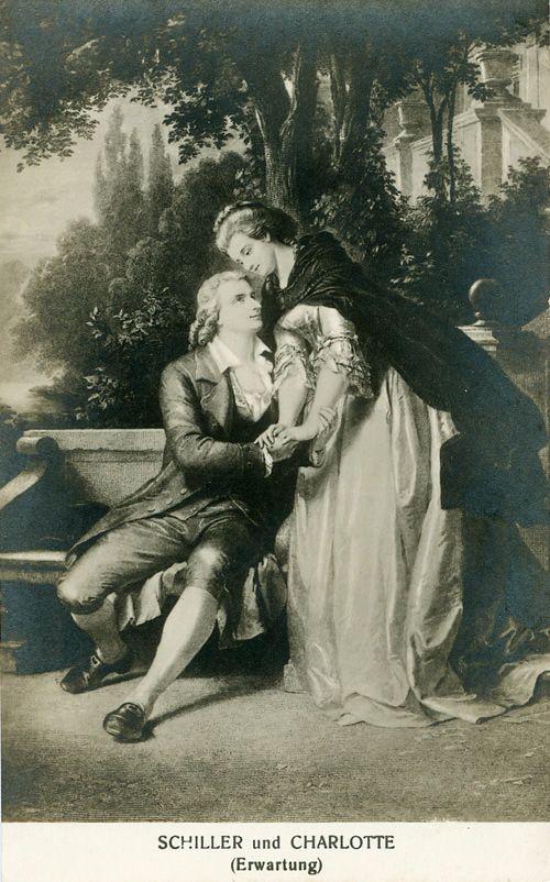 Schiller met zijn vrouw Charlotte die in verwachting is.