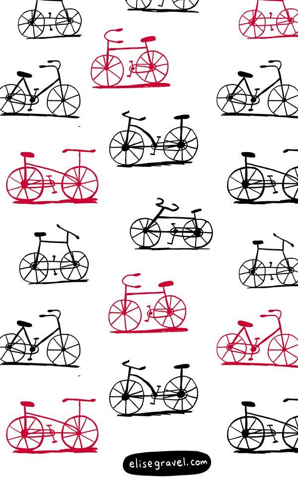 Elise Gravel Illustration • bikes • bicycles • vélo • black • red • drawing • cute • art • simple • Line art • doodle
