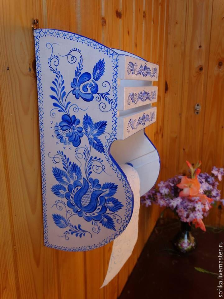 """Купить Держатель для туалетной бумаги """"Гжель"""" - белый, синий, держатель для бумаги, туалетная бумага, гжель"""