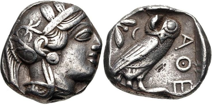 Athens, Attica 454-404 BC  Silver tetradrachm.  On the obverse, the head of Athena wearing a crested helmet decorated with three olive leaves.  On the reverse, an owl standing, an olive twig within incuse square.
