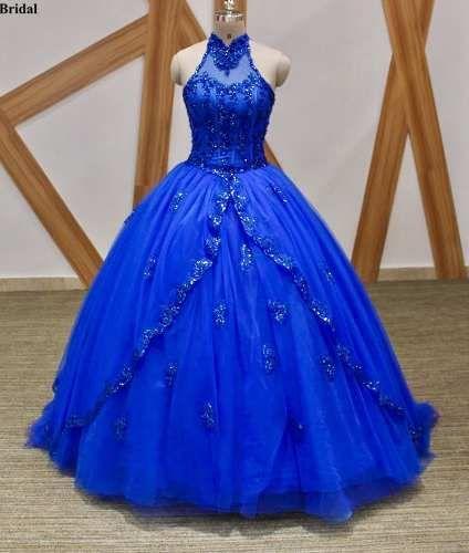 da4ef52e9 Vestido De Xv 15 Años Azul Rey Escote Halter Importado -   6