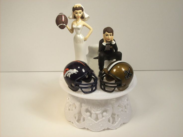 House Divided Football BRONCOS SAINTS (or your teams) Team Helmets RIVALRY Funny Wedding Cake Topper Brown Hair by mikeg1968 on Etsy https://www.etsy.com/listing/219785609/house-divided-football-broncos-saints-or