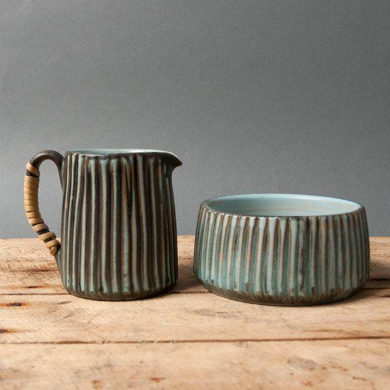 danish sugar bowl pitcher lovemose grooved studio by northvintage