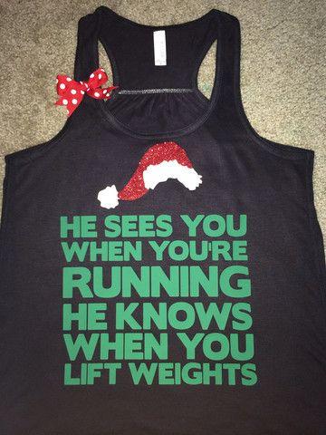 Christmas Tank - Ruffles with Love - Racerback Tank - Womens Fitness - #santa #christmasshirt #christmastank