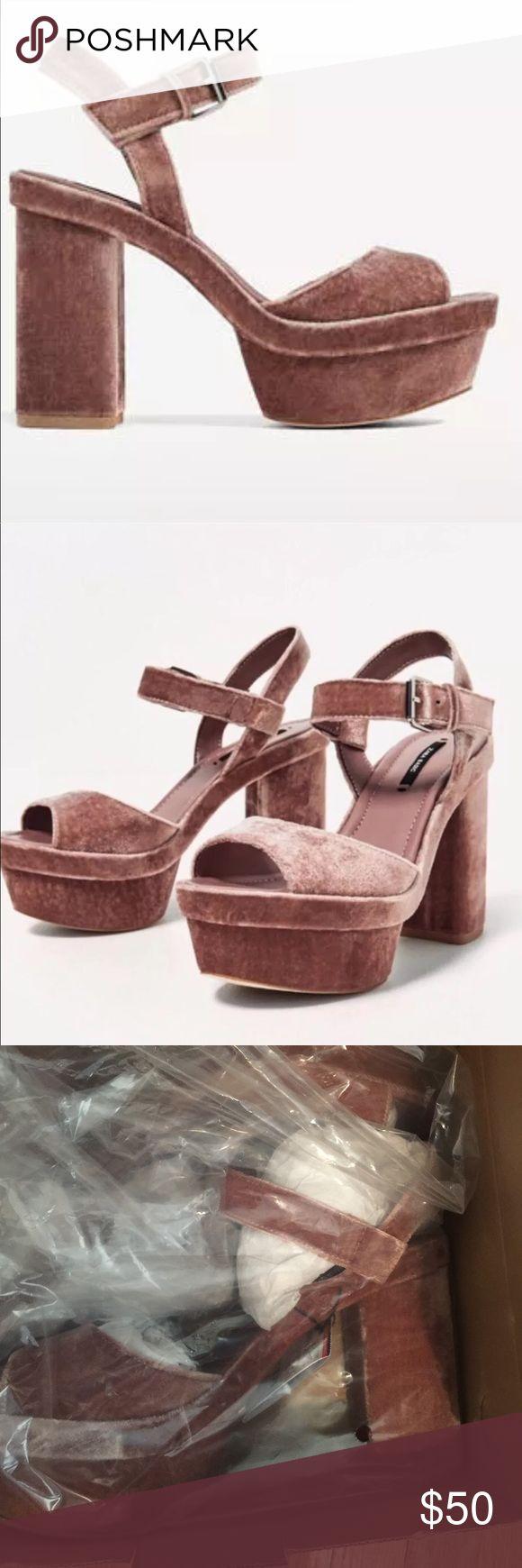 Zara Velvet Platform Sandals Size 8 UK 39 Velvet Zara Shoes Platforms
