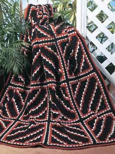 Navajo Diagonal Squares Afghan ~ free pattern ᛡ