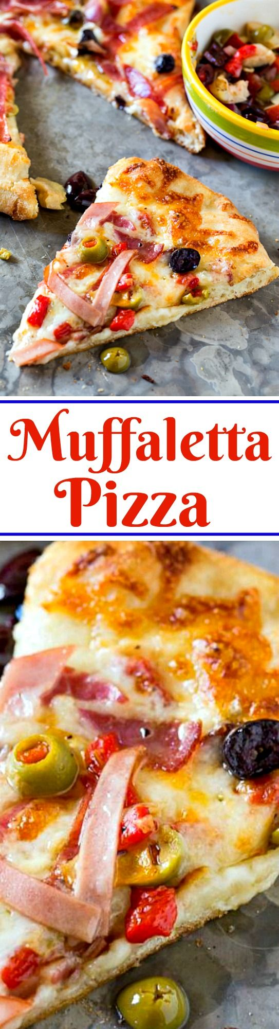 Muffaletta Pizza with all the flavors of the famous New Orleans sandwich.