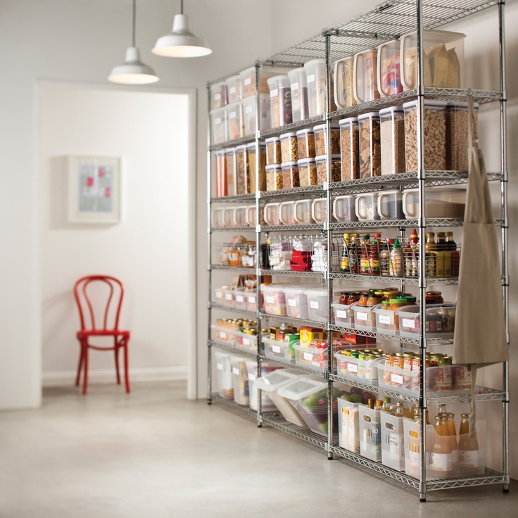 Organize pantry using Metro Shelving and Plastic Oxo