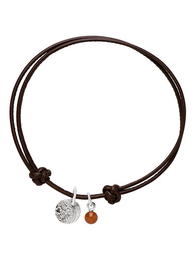 Marc O'Polo - biżuteria - Skórzana bransoletka ze srebrną zawieszką i czerwonym karneolem - karta produktu
