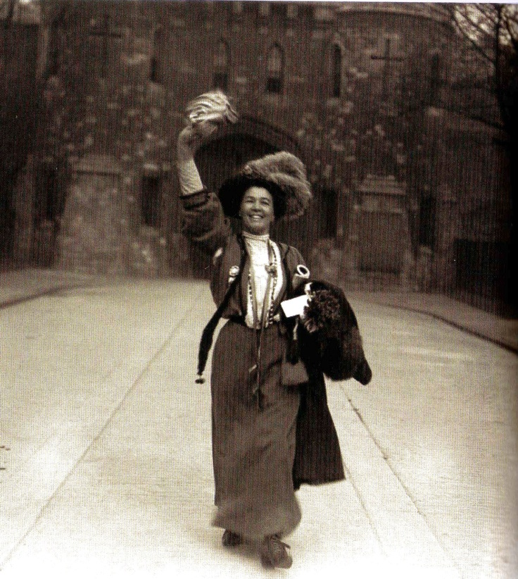 Suffragette Emmeline Pethick Lawrence on her release from Holloway Prison, London,  1908