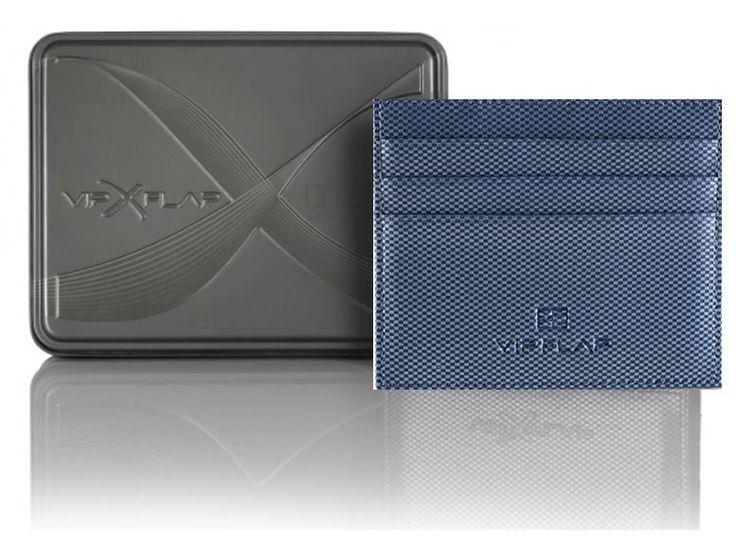 Vip Flap Portafoglio Wallet Porta Carte Linea Carbon Edition Blu