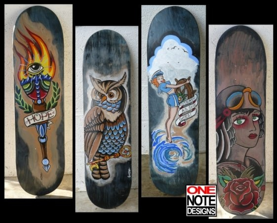 Beautiful Skate Art From 1notedesigns. Http://truekahuna.com/GearNClothing/