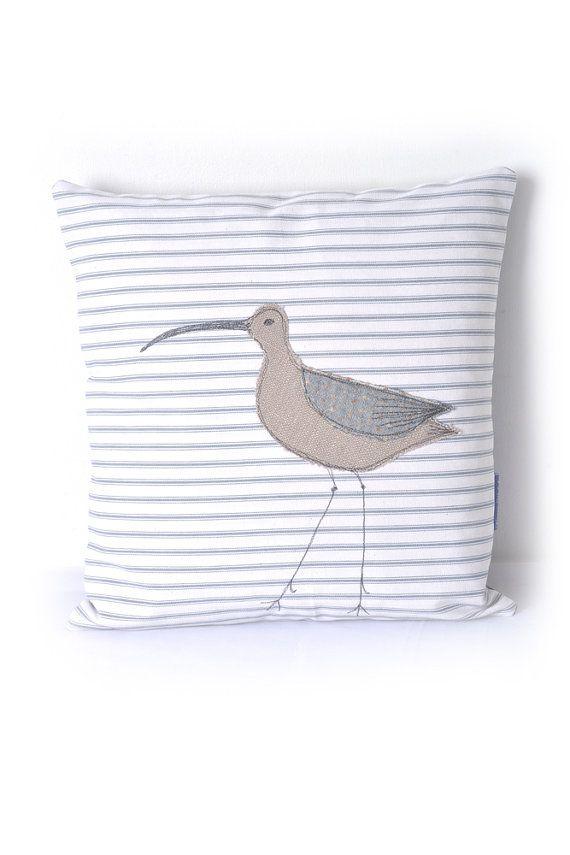 Nautical Pillow Curlew Appliquéd