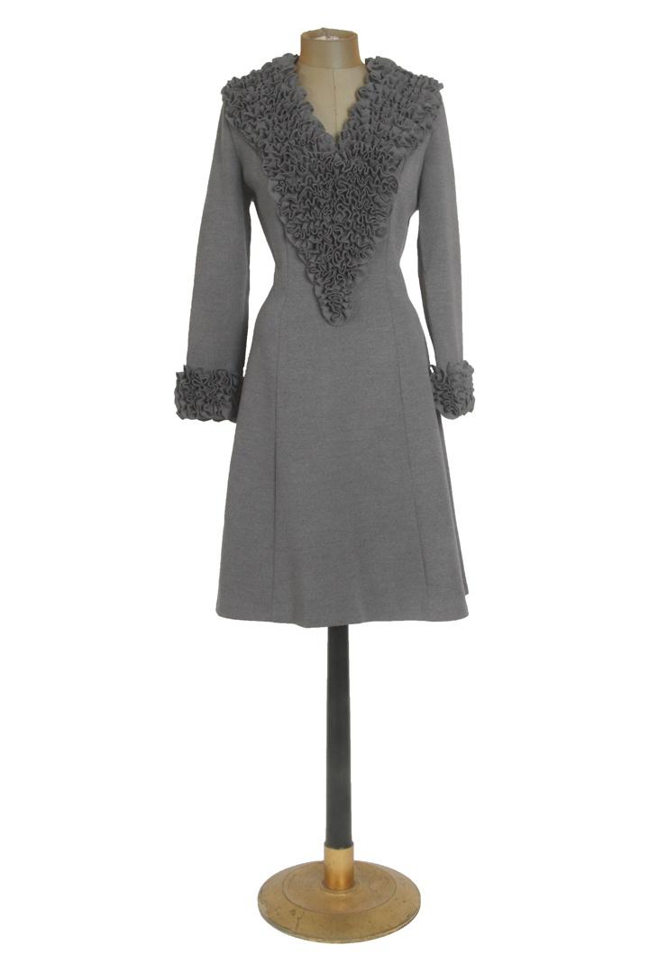 "Vintage 1960s ""Abella Paris"" Gray Ruffle Dress"