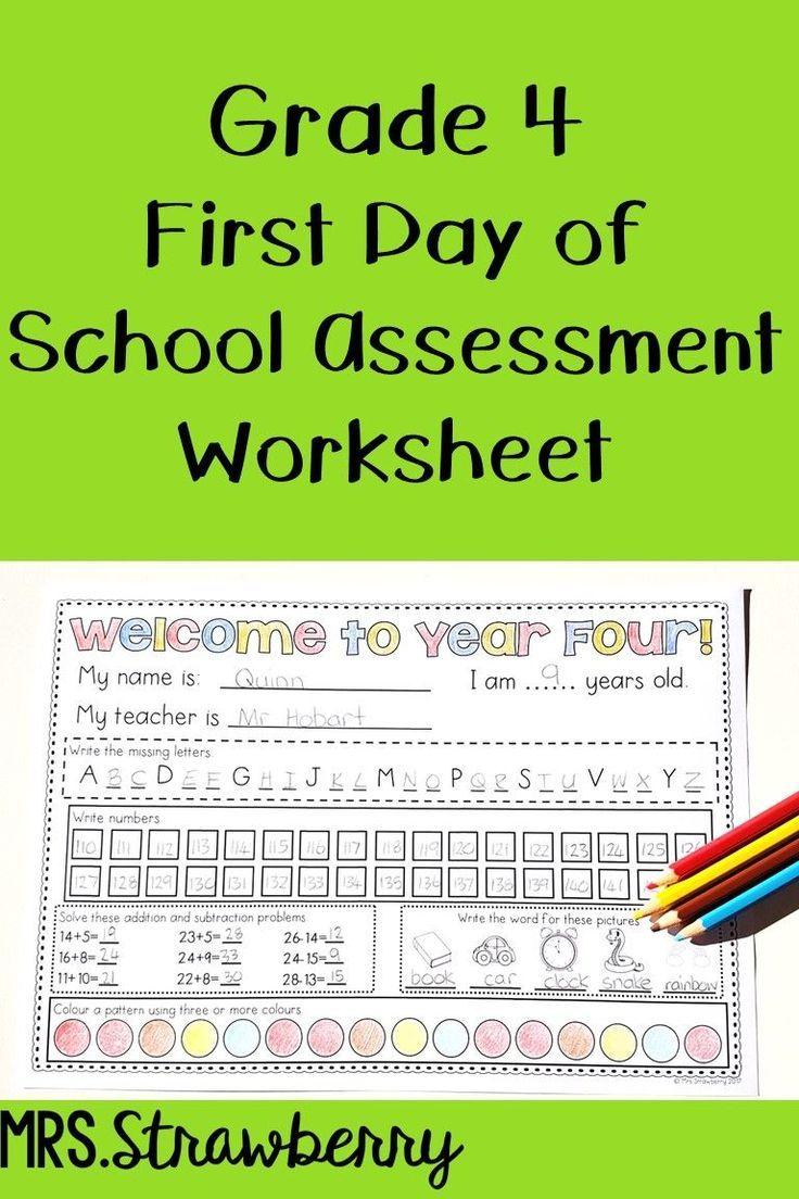 First Day Of School Assessment Worksheet Grade 4 Phonics Assessments First Day Of School Elementary Math Lessons [ 1104 x 736 Pixel ]
