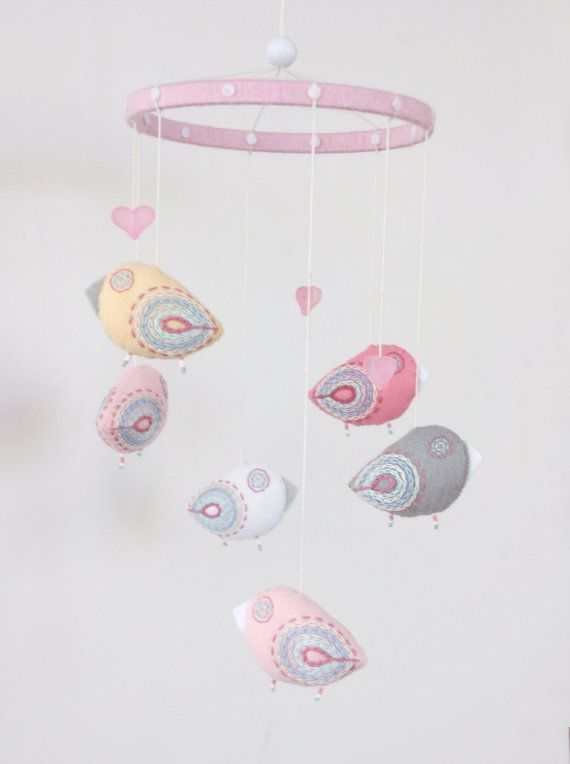 baby pink mobile pastel birds