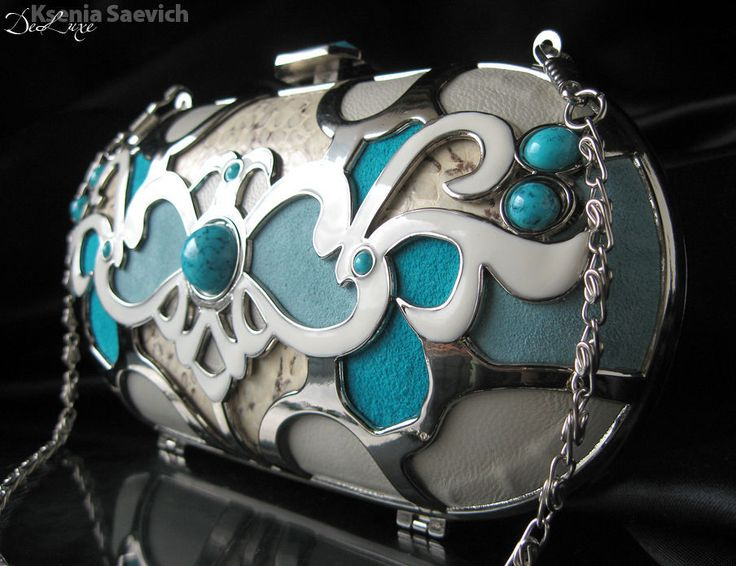 """Купить Клатч """"Turquoise"""" из натуральной кожи - бирюзовый, орнамент, клатч, сумка, сумочка, бирюзовый клатч"""
