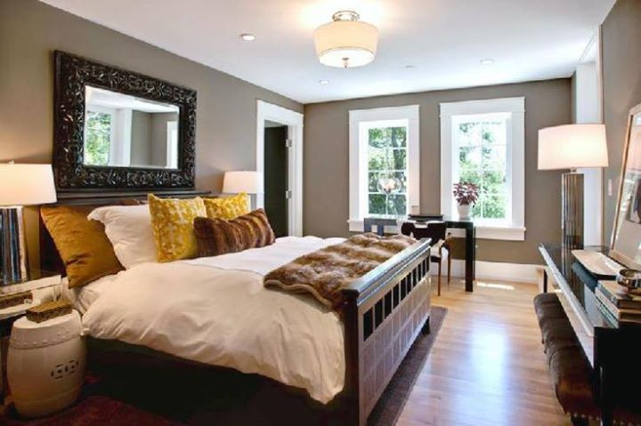 bedroom decorating ideas. I like the mirror above bed