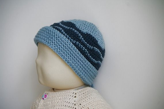 24 - Patron de bonnet à motifs vagues pour l'hiver au crochet -  3 tailles…