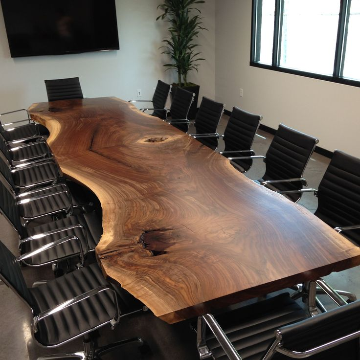 Custom Made Custom Live Edge Black Walnut Conference Table
