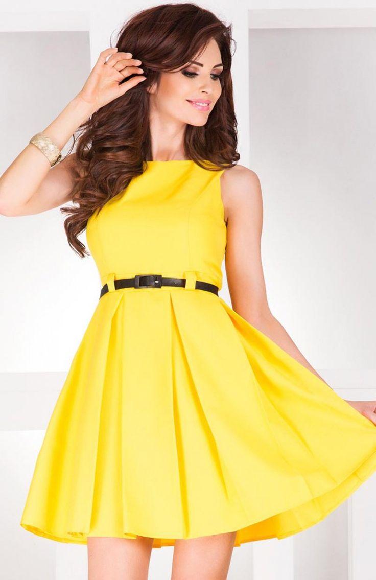 SAF 6-6 sukienka cytrynowa Kobieca sukienka, okrągły dekolt, francuskie cięcia