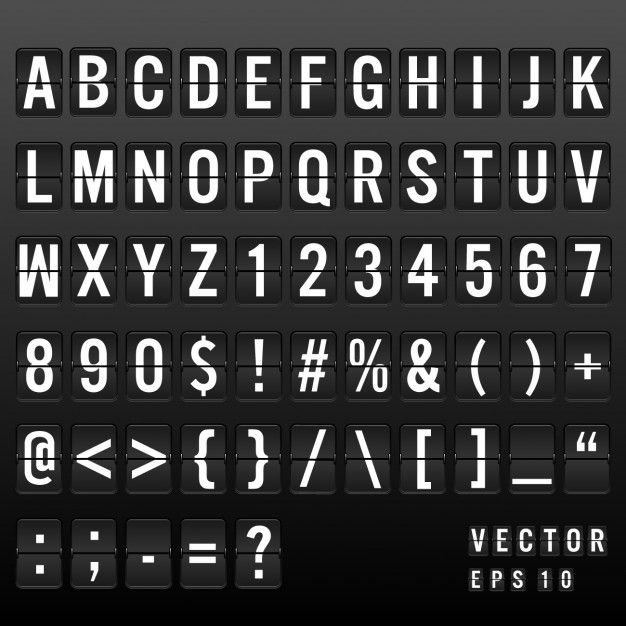 Airport board font Free Vector