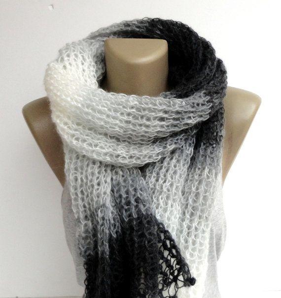 black and white fashion shawl - scarf - knitted scarf ,winter trendscarf , neckwarmer ,batik scarf , wholesale scarves on Etsy, $55.00