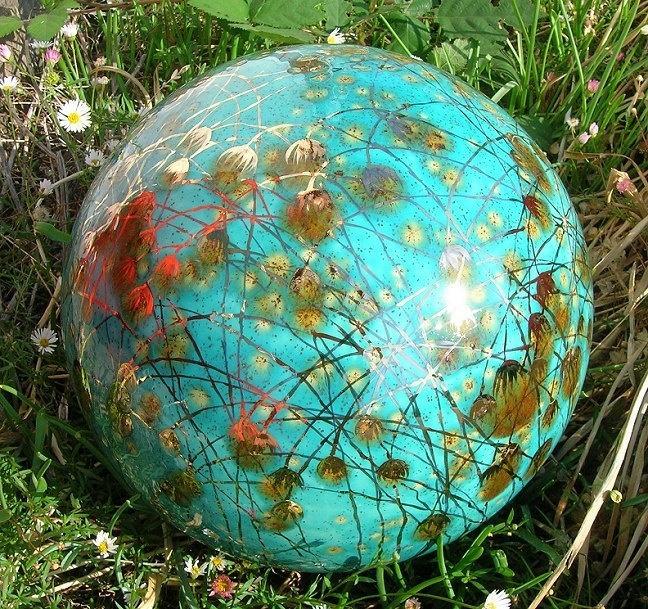 Exceptional Garden Art By Anna  Garden Globe Aqua Color. Via Etsy.