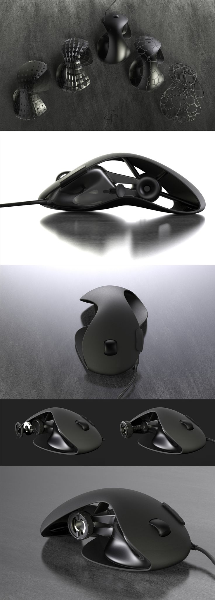GAMIN MOUSE, pattern, voronoi, product/industrial design, individual corpus, adjustable size and weight, programmable g-joystick, scroll ring, sliding, ergonomic, pull reload button. grasshopper