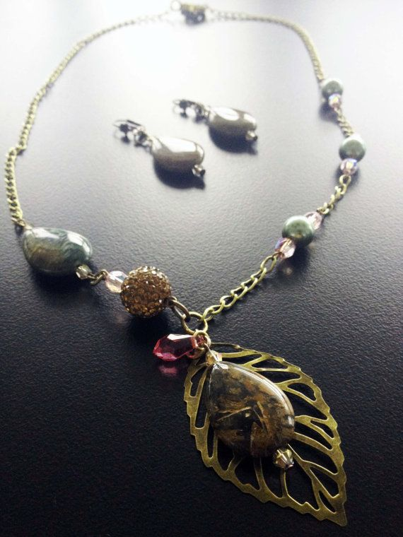 SET of Handmade beaded necklace with Jasper & pearls by BYTWINS, €70.00