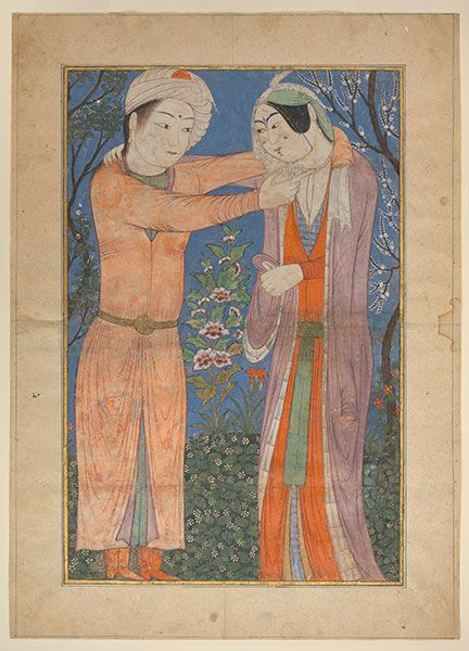 """Homāy and Homāyūn in a garden,"" detached leaf from a manuscript of Rašīd-al-Dīn's Jāmeʿ al-tawārīḵ, no. 57.51.20, colors and gilt on paper. The Metropolitan Museum of Art, no. 57.51.20."