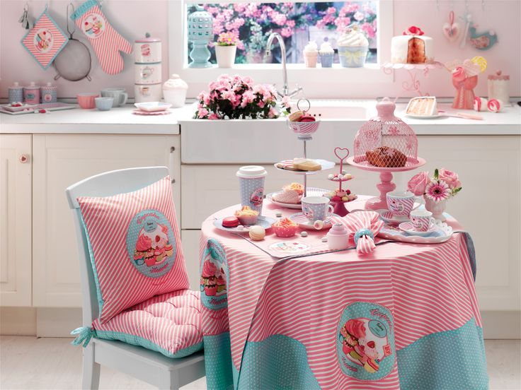 Kitchen Accessories, Kitchen Textiles #englishhome #pink #pembe #cupcake #mutfak #dekorasyon