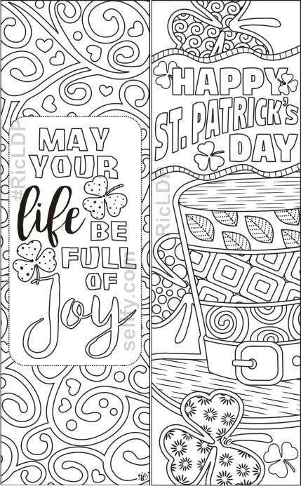 St Patrick S Day Coloring Bookmarks Coloring Bookmarks Book Markers Bookmarks Kids